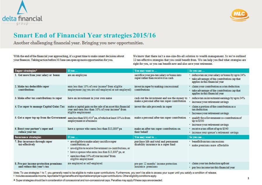 Smart End of Financial Year strategies 2015/16 - image delta-financial on https://www.deltafinancialgroup.com.au