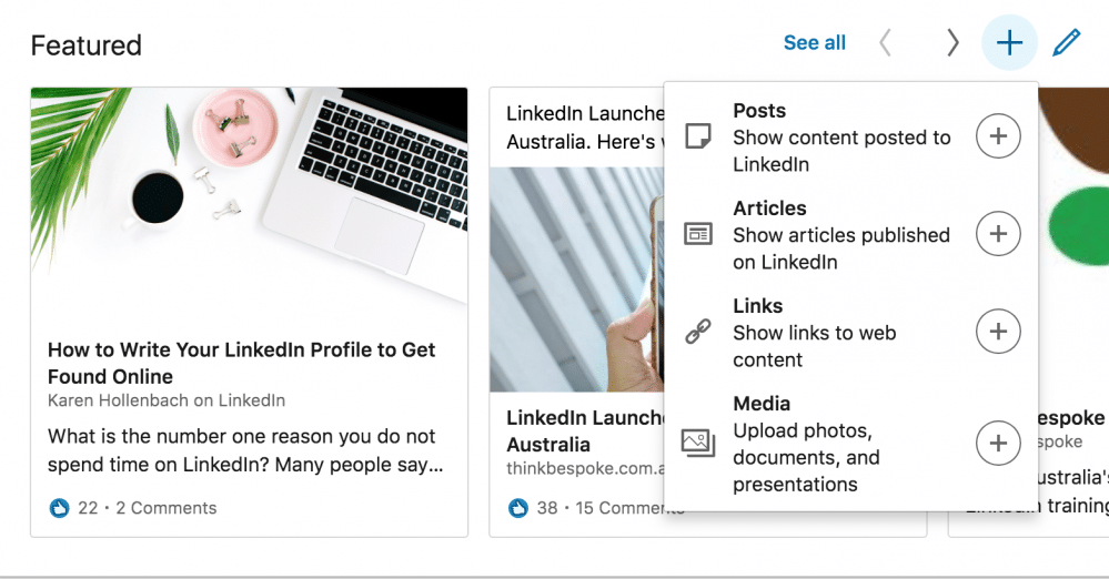 How to use the featured section on your LinkedIn profile - image linkedIn2 on https://www.deltafinancialgroup.com.au
